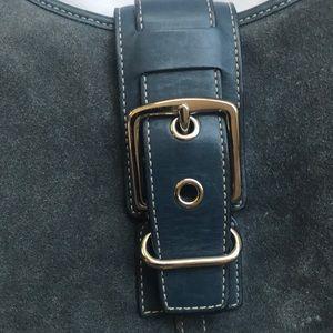 Coach Bags - Coach handbag blue slate suede number f3q 7559